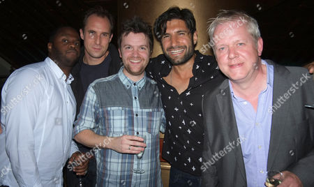 An Incident at the Border Press Night After Party at the Players Bar and Kitchen Villiers Street Westminster London Tom Bennett ( C ) with His Phoneshop Fellow Actors Javone Prince Andrew Brooke Tom Bennett Kayvan Novak & Martin Trenaman Florence Hall with Her Boyfriend Joe Coen