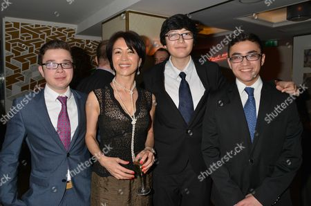 Author Wilbur Smith Celebrates His 80th Birthday with A Party at the Ivy Club Soho London Niso Smith with Her Nephews Brothers Malik Abdurakhim & Jaffar Rakhimov