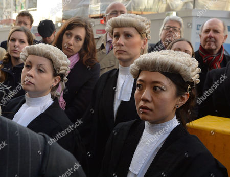 Barrister Demo Against Legal Aid Cuts at the Old Bailey City of London Rebecca Saillet Charlotte Hole and Aska Fujita
