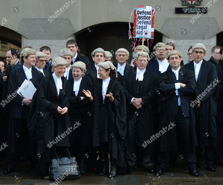 Barrister Demo Against Legal Aid Cuts at the Old Bailey City of London the 3 Female Barrister's in Front Row Are Rebecca Saillet Charlotte Hole and Aska Fujita