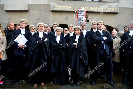 Barrister Demo Against Legal Aid Cuts at the Old Bailey City of London the 3 Females Barrister's in Front Row Are Rebecca Saillet Charlotte Hole and Aska Fujita