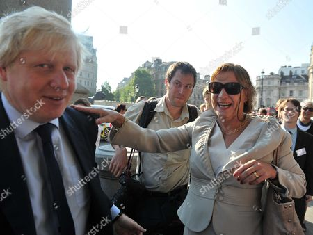 Boris Johnson & Alastair Campbell Unite in Support of Charity Cycle Challenge Boris Johnson & Alastair Campbell Join Cyclists Harry Pearson-gregory Louis Metcalfe Archie Gilmour (boris's Godson) & Tom Prebensen in Trafalgar Square As the 4 Boys Start A Cycle Ride From London to Lisborn to Raise Funds For Leukaemai & Lymphoma Research Anji Hunter with Boris Johnson