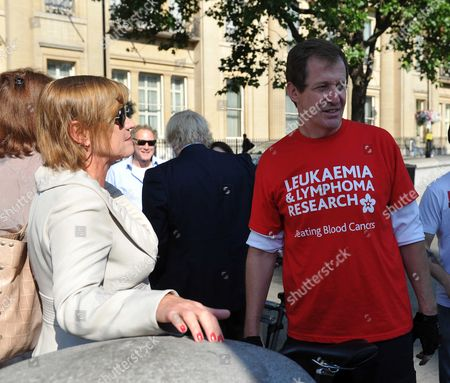 Boris Johnson & Alastair Campbell Unite in Support of Charity Cycle Challenge Boris Johnson & Alastair Campbell Join Cyclists Harry Pearson-gregory Louis Metcalfe Archie Gilmour (boris's Godson) & Tom Prebensen in Trafalgar Square As the 4 Boys Start A Cycle Ride From London to Lisborn to Raise Funds For Leukaemai & Lymphoma Research Anji Hunter with Alastair Campbell
