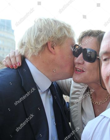 Stock Picture of Boris Johnson & Alastair Campbell Unite in Support of Charity Cycle Challenge Boris Johnson & Alastair Campbell Join Cyclists Harry Pearson-gregory Louis Metcalfe Archie Gilmour (boris's Godson) & Tom Prebensen in Trafalgar Square As the 4 Boys Start A Cycle Ride From London to Lisborn to Raise Funds For Leukaemai & Lymphoma Research Anji Hunter with Boris Johnson