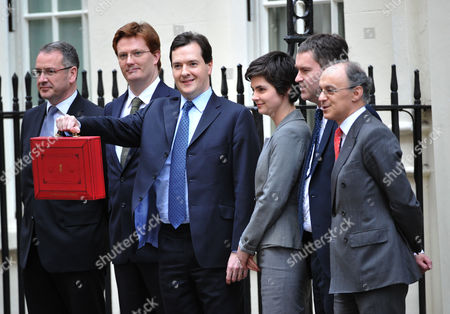 Budget Day in Downing Street Westminster London the Chancellor of the Exchequer George Osborne Holding the Budget Box Stands with His Treasury Team (l-r) Financial Secretary to the Treasury Mark Hoban Chief Secretary to the Treasury Danny Alexander Economic Secretary to the Treasury Chloe Smith Exchequer Secretary to the Treasury David Gauke and Commercial Secretary to the Treasury Lord Sassoon