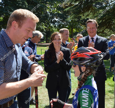 David Cameron the Prime Minister On A Cycling Visit to Cassiobury Park Watford For A Announcement to Promoting Cycling He Was Joined by Chris Hoy and Victoria Pendleton