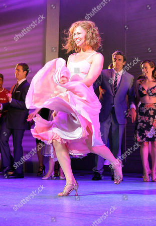 Stock Image of Curtain Call and After Party at the Dirty Dancing Press Night the Piccadilly Theatre Soho London Jill Winternitz and Paul Michael Jones