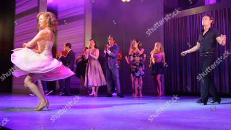 Stock Photo of Curtain Call and After Party at the Dirty Dancing Press Night the Piccadilly Theatre Soho London Jill Winternitz and Paul Michael Jones