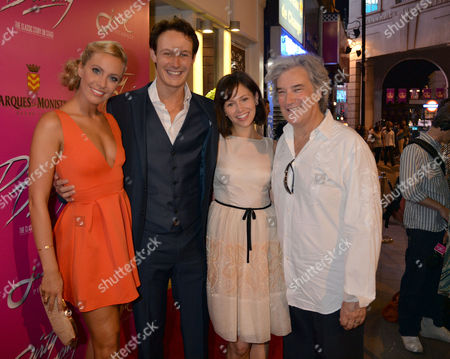 Curtain Call and After Party at the Dirty Dancing Press Night the Piccadilly Theatre Soho London Charlotte Gooch Paul Michael Jones Jill Winternitz with the Producer Karl Sydow