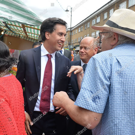 Ed Miliband Egged On Visit to East Street Market South London Ed Miliband Meets Locals On A Market Walk About with Neil Coyle Labour Ppc For Bermondsey & Old Southwark