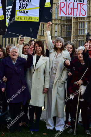 Equal Pay Photocall at Old Palace Yard Westminster With: Gloria De Piero Shadow Minister For Women and Equalitiesand Women From the Original Dagenham Equal Pay Strike: Gwen Davis Sheila Douglass Vera Sime with Stars From Cast of Hit Musical 'Made in Dagenham': Gemma Arterton Isla Blair Sophie Louise Dann Sophie Stanton Sophie Isaacs