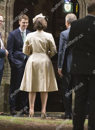 Euan Blair Greets His Father and Mother Tony & Cherie Blair at the Church Door