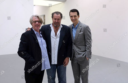 Stock Picture of Every Angel Has A Dark Side at the Dairy Arts Centre Wakefield Street Bloomsbury London Frank Cohen Co-founder Dairy Art Centre Julian Schnabel and Nicolai Frahm Co-founder Dairy Art Centre