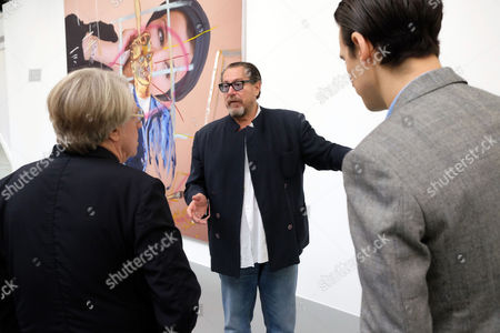 Every Angel Has A Dark Side at the Dairy Arts Centre Wakefield Street Bloomsbury London Frank Cohen Co-founder Dairy Art Centre Julian Schnabel and Nicolai Frahm Co-founder Dairy Art Centre