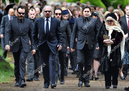 Funeral of Robin Gibb at St Marys Church Thame Oxfordshire L to R Barry Gibb His Son Stevie Gibb Spencer & Robin-john Gibb Robin's Sons and the Widow Dwina Murphy Gibb