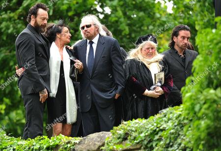 Funeral of Robin Gibb at St Marys Church Thame Oxfordshire Stevie Gibb Linda Gibb Barry Gibb Dwina Murphy Gibb & Spencer Gibb
