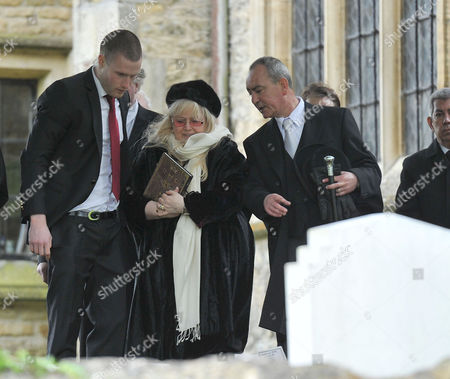 Funeral of Robin Gibb at St Marys Church Thame Oxfordshire Dwina Murphy Gibb Robin's Widow Looks at the Floral Tributes After the Service
