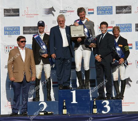 Global Champions Tour International Concours Valkenswaard Saturday Gct Grand Prix of Valkenswaard the Prize Giving the Winner Ludger Beerbaum On Chaman ( C 2nd Richard Spooner ( L ) and 3rd Rolf-göran Bengtsson
