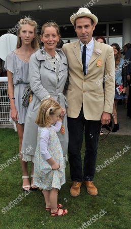 Glorious Goodwood Ladies Day at the Goodwood Estate Chichester West Sussex Marlon Richards with His Wife Lucie De La Falaise and Children
