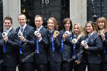 Stock Picture of Team Gb Athletes From the Winter Olympics Arrive at Number 10 Downing Street Jon Eley Jenny Jones Lizzy Yarnold Eve Muirhead Anna Sloan Claire Hamilton Vicki Adams Lauren Gray Dave Murdoch Greg Drummond Scott Andrews Michael Goodfellow Tom Brewster & Michael Hay