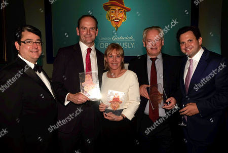 Guido Fawkes 10th Anniversary Dinner at the Iod Pall Mall Mayfair London Paul Staines ( L ) and Harry Cole ( R ) with Winners Douglas Carswell Ukip Mp Nadine Dorries Mp and Francis Maude Mp and Harry Cole