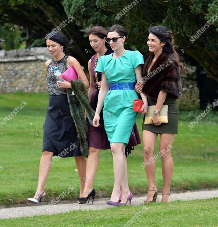 Samantha Cameron and Her Sister Emily Sheffield Half Sisier Flora Astor and Sister in Law Lohralee Astor at Her Half Brothers Wedding Jake Astor to Victoria Hargreaves at St John the Evangelist Northington