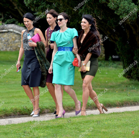 Wedding of Jake Astor to Victoria Hargreaves at St John the Evangelist Northington Hampshire Sisters Emily Sheffield Samantha Cameron Flora Rycroft and Lohralee Astor Arrive For the Wedding