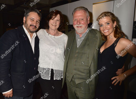 A Ww1 Josephine Hart Poetry Platform at the Lyttelton at the National Theatre Southbank London Peter Florence (chairman of Hay Festival) the Narrator with the Readers Deborah Findlay Kenneth Cranham and Lisa Dwan