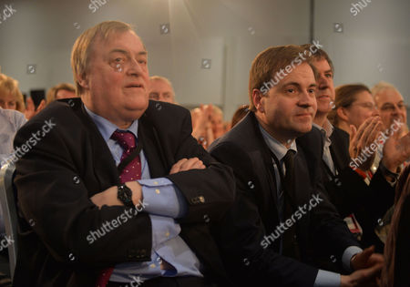 Stock Image of Labour Party Special Conference at the Excel Centre Docklands East London Lord John Prescott and His Son David Prescott