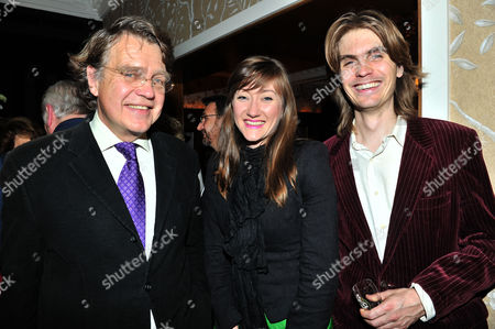 Launch Party to Celebrate the Oscar Wilde's 158th Birthday and the the Publication of Oscar Wilde and the Murders at Reading Gaol at the Cadogan Sloane Street London the Books Author Gyles Brandreth with Oscar Wilde's Grandson Merlin Holland and His Son Oscar Wilde's Great Grandson Merlin Holland ( His Partner in Centre )