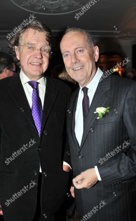 Launch Party to Celebrate the Oscar Wilde's 158th Birthday and the the Publication of Oscar Wilde and the Murders at Reading Gaol at the Cadogan Sloane Street London the Books Author Gyles Brandreth with Oscar Wilde's Grandson Merlin Holland
