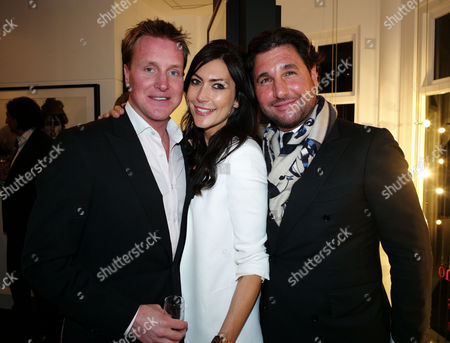 Stock Picture of Private View of Marco Glaviano: Supermodels at the Little Black Gallery Park Walk Fulham London Henry Bethwith & Louise Cole & Georgio Veroni
