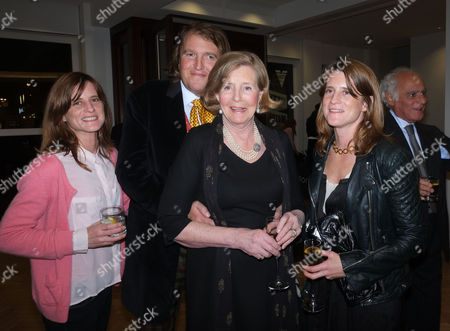 Stock Image of Lord of the Isle – the Extravagant Life and Times of Colin Tennant Book Launch at Bonhams New Bond Street Mayfair London Lady Anne Glenconner with Her Twin Daughters Amy Tennant May Tennant and Her Son Christopher Tennant