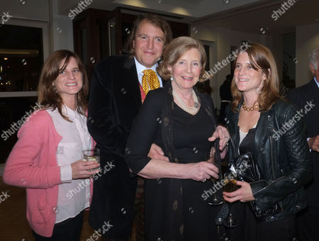 Lord of the Isle – the Extravagant Life and Times of Colin Tennant Book Launch at Bonhams New Bond Street Mayfair London Lady Anne Glenconner with Her Twin Daughters Amy Tennant May Tennant and Her Son Christopher Tennant