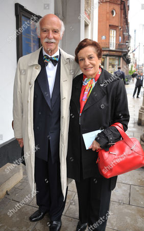Stock Image of Memorial Service For Alan Whicker Grosvenor Chapel South Audley Street Mayfair London Anton Mossiman with His Wife