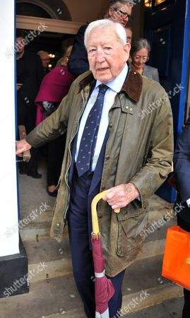 Stock Image of Memorial Service For Alan Whicker Grosvenor Chapel South Audley Street Mayfair London Sandy Gall
