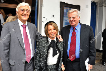 Stock Picture of Memorial Service For Alan Whicker Grosvenor Chapel South Audley Street Mayfair London Sir Michael Parkinson Valerie Kleeman and Lord Michael Grade