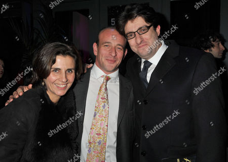 Midnight Tango Press Night at the Aldwych Theatre and After Party at Jewel Maiden Lane Convent Garden London Andrew Feldman Baron Feldman of Elstree and His Wife Gabrielle Gourgey with the Shows Co- Producer Adam Spiegel (c)