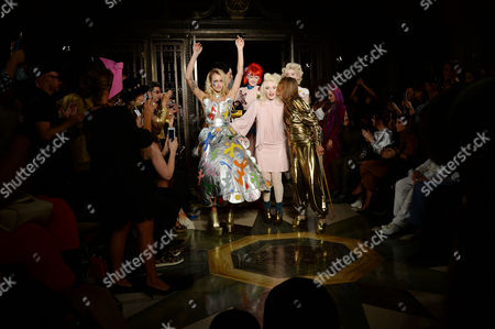 London, England, 16th September 2016: Pam Hogg, Alice Dellal and Anita Pallenberg On the Catwalk During the Pam Hogg Fashion Show at Freemasons Hall During Aw16 London Fashion Week On the 16th September 2016