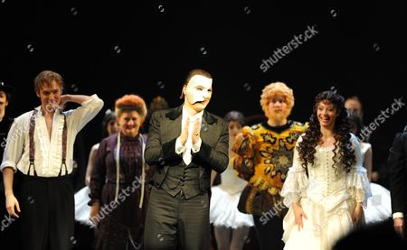 Phantom of the Opera Celebrates Its 10 000th Performance at the Matinee at Her Majesty's Theatre Haymarket London L to R Raoul Vicomte De Chagny Played by Will Barratt Scott Davies the Phantom Sofia Escobar Who Plays Christine DaaŽ *** Local Caption ***