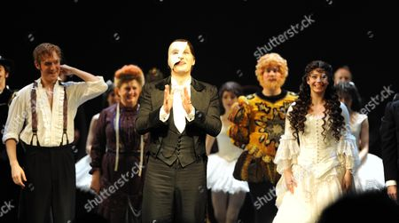 Stock Image of Phantom of the Opera Celebrates Its 10 000th Performance at the Matinee at Her Majesty's Theatre Haymarket London L to R Raoul Vicomte De Chagny Played by Will Barratt Scott Davies the Phantom Sofia Escobar Who Plays Christine DaaŽ *** Local Caption ***