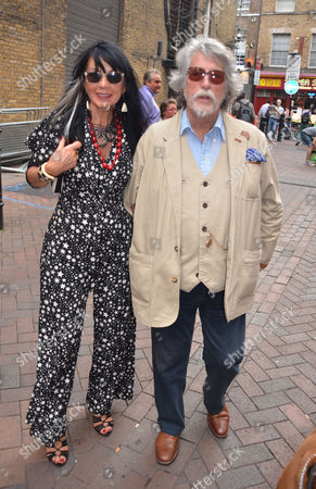 Stock Picture of Premiere of A New Play 'Burnt Oak' at the Leicester Square Theatre Leicester Square London Justin De Villeneuve with His Wife Sue Timney