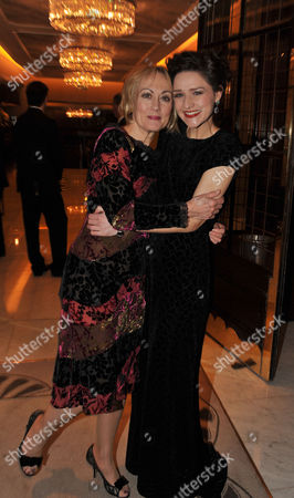 Stock Picture of Press Night Curtain Call and After Party For Great Expectations at the Vaudeville Theatre the Strand and the Waldorf Hotel Aldwych London Paula Wilcox & Grace Rowe