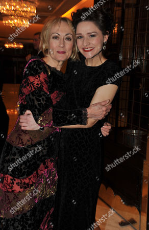 Stock Image of Press Night Curtain Call and After Party For Great Expectations at the Vaudeville Theatre the Strand and the Waldorf Hotel Aldwych London Paula Wilcox & Grace Rowe
