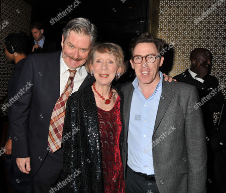 Press Night Curtain Call For the Ladykillers at the Gielgud Theatre Shaftsbury Ave and After Party at the Spice Market W Hotel Leicester Square London James Fleet & Marcia Warren with Rob Brydon
