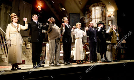Press Night Curtain Call For the Ladykillers at the Gielgud Theatre Shaftsbury Ave and After Party at the Spice Market W Hotel Leicester Square London the Cast Beverley Walding Harry Peacock Clive Rowe Peter Capaldi Marcia Warren Ben Miller James Fleet Steven Wight