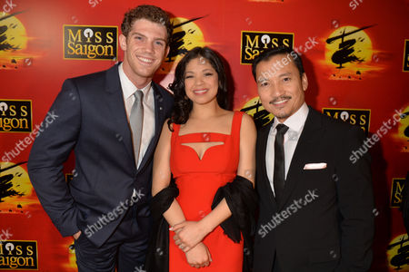 Press Night Curtain Call For Miss Saigon at the Prince Edward Theatre Old Compton Street Soho London & After Party at Somerset House the Strand Lead Cast Members Alistair Brammer Eva Noblezada and Jon Jon Briones