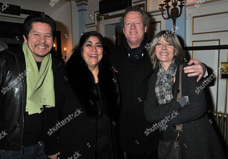 Press Night For Old Times at the Harold Pinter Theatre Panton Street London the After Party Gurinder Chadha with Her Husband Paul Mayeda Berges with Howard Goodall and His Wife Val Fancourt