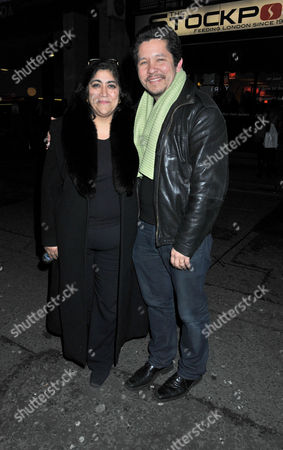Press Night For Old Times at the Harold Pinter Theatre Panton Street London the After Party Gurinder Chadha with Her Husband Paul Mayeda Berges