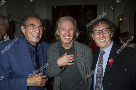 Press Night For Scrooge at the London Palladium Argyll Street Soho London the After Party Tommy Steele Witjh Don Black ( Oscar Winning Song Writer) ( R ) and His Brother Michael Black (l )